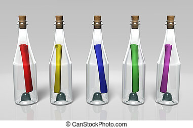 different colored messages in the bottles