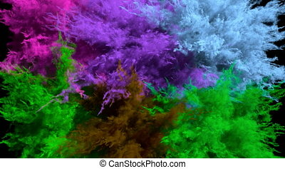 Different colored powder explosions - CG animation of ...