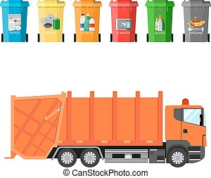 recycle waste bins and garbage truck