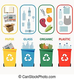 Different colored recycle waste bins vector illustration, Waste types segregation recycling vector illustration. Organic, plastic, paper, glass waste. Vector illustration