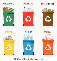 Different colored recycle waste bins vector illustration,...