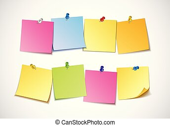 Different colored sheets of note papers collection.