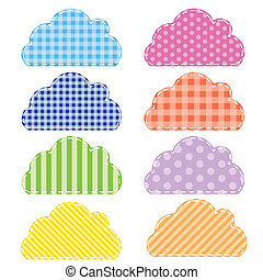 Different colored speech bubbles in clouds style.