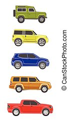 different colored suv car off-road 4x4 icon set