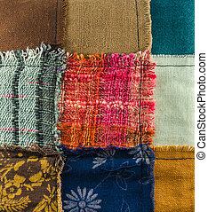 different colorful fabrics texture