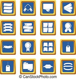 Different colorful labels icons set blue