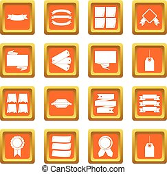 Different colorful labels icons set orange