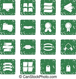 Different colorful labels icons set grunge