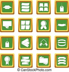 Different colorful labels icons set green