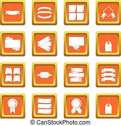 Different colorful labels icons set orange