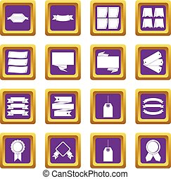 Different colorful labels icons set purple