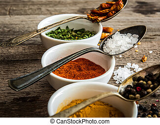 spicec in bowls and spoons