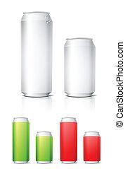 Different colors aluminium cans template