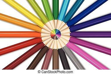 Different colors for color pencils illustration