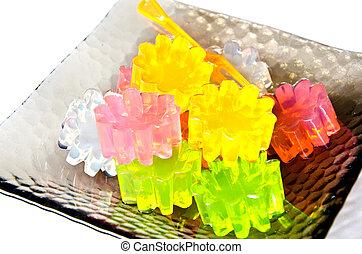 Different colors gelatin - closeup of gelatin of different...