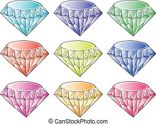Different colors of diamonds - Illustration of the different...