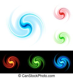 Different colors vortex. Illustration on white and black...
