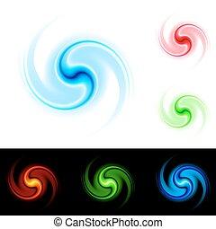 Different colors vortex. Illustration on white and black background for design.