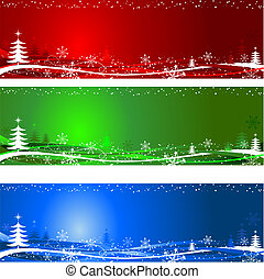 Different coloured decorative Christmas tree backgrounds