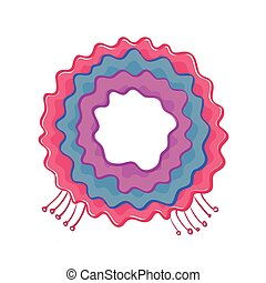 Different coloured scarf with fringe on white background. Vector illustration