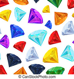 Different colourful gemstones, seamless pattern