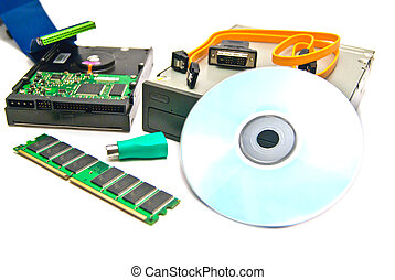 different computer Hardware on white background