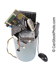 different computer parts in can