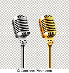 Different concert microphones collection vector illustration isolated on transparent