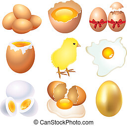 different conditions of eggs vector set
