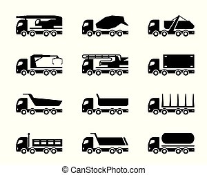 Different construction trucks