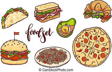 Different countries fast food set. Vector isolated hand drawn meal illustration.