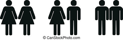 different couples silhouette - heretosexual, gay and lesbian...