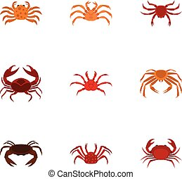 Different crab icons set, cartoon style - Different crab...