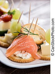 Different Crackers on a plate