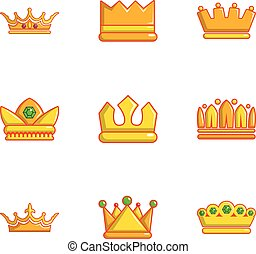 Different crown icons set, flat style