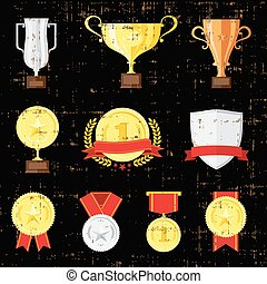 Different cups set on black background. Golden, silver and bronze trophies.