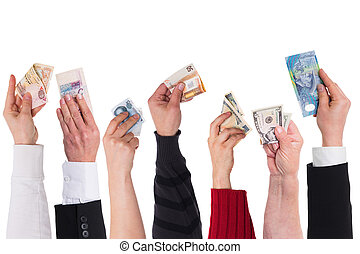 different currencies concept global financing - different...