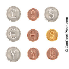 different currency symbol coins