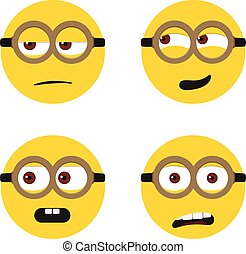 Different cute faces vector illustration isolated on white