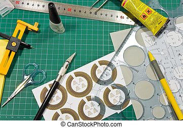 Different cutting and gluing hobby tools still life. -...