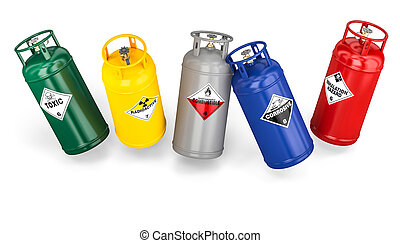 different dangerous cylinder container 3d rendering image