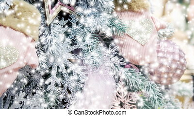 Different decorative Christmas-tree toys close-up,