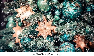 Different decorative Christmas-tree toys close-up