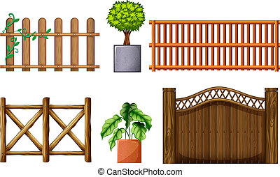 Different design of wooden fences