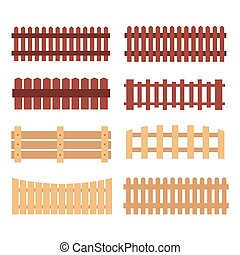 Different designs of fences - Wooden fences on white...