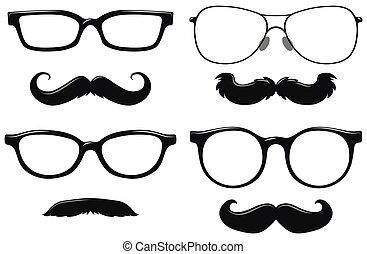Different designs of mustache and glasses