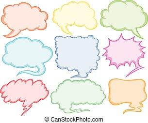 Different designs of speech bubbles