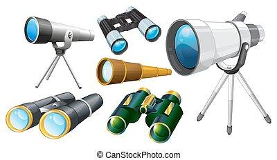 Different designs of telescopes