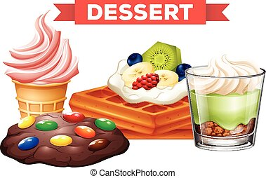 Different desserts on white background