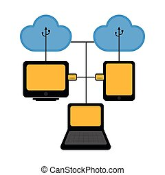 Different devices connected to cloud technology